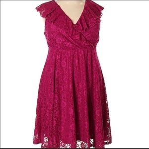 torrid Dresses - Torrid Pink Lace Midi Skater Dress